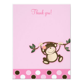 "Monkey Play Pink 4x5 Flat Thank you note 4.25"" X 5.5"" Invitation Card"