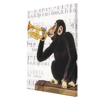 Monkey Playing Trumpet Canvas Print