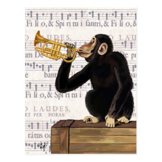 Monkey Playing Trumpet Postcard