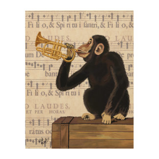 Monkey Playing Trumpet Wood Print
