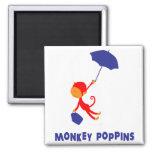 Monkey Poppins Square Magnet