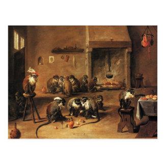 Monkey Postcard: Monkeys in Kitchen by Tenier Postcard