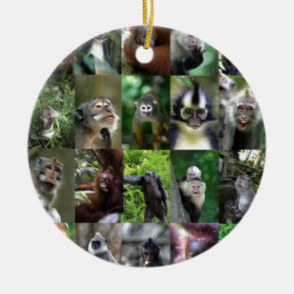 Monkey primate montage christmas ornament