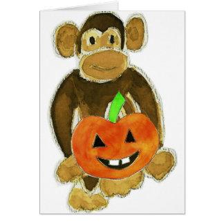 Monkey Pumpkin Greeting Card