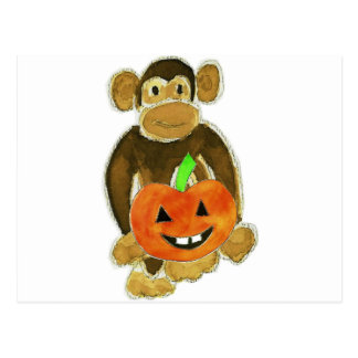 Monkey Pumpkin Postcard