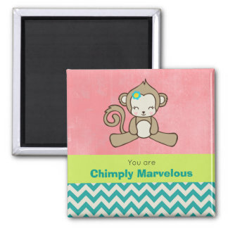 Monkey Pun Appreciation Cute Kawaii Fun Square Magnet