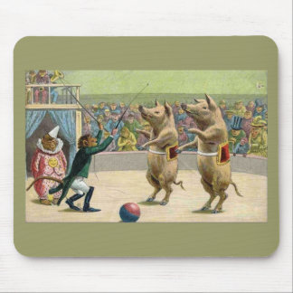 Monkey Ringmaster and Circus Pigs Mouse Mat