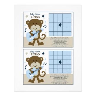 """Monkey Rockerstar/Rocker """"Baby Shower Bingo"""" sheet 21.5 Cm X 28 Cm Flyer"""