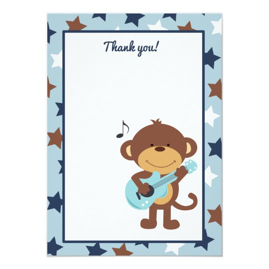 Monkey Rockstar Guitar Thank you card