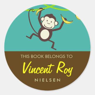 Monkey Round Bookplates Round Sticker