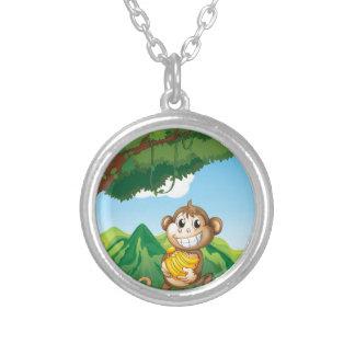 Monkey Round Pendant Necklace