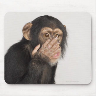 Monkey rubbing its face mouse pad