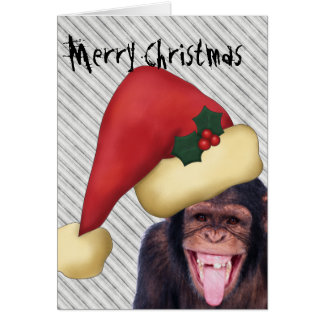 Monkey Santa Christmas Card
