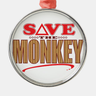 Monkey Save Silver-Colored Round Decoration