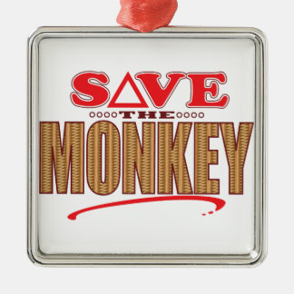 Monkey Save Silver-Colored Square Decoration