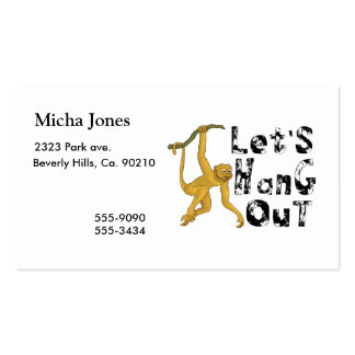 Monkey Says Let's Hang Out Pack Of Standard Business Cards