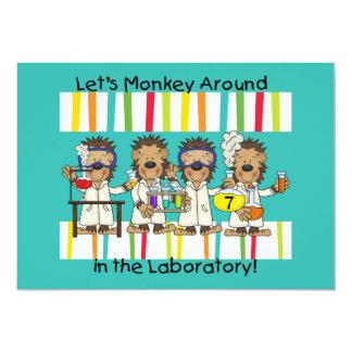 Monkey Science Mad Scientist Birthday Invitations