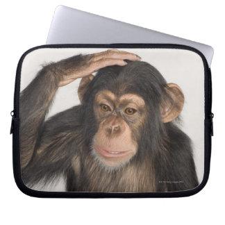 Monkey scratching its head laptop sleeve