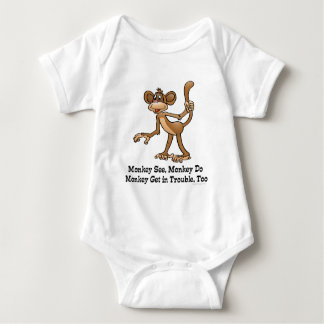 Monkey See, Monkey Do, Monkey Get in Trouble, Too. Baby Bodysuit