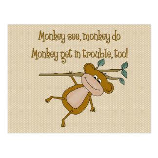 Monkey See Monkey Do Postcard