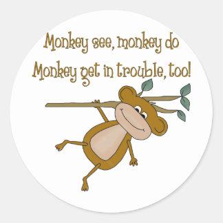 Monkey See Monkey Do Round Sticker