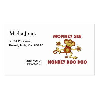 Monkey See Monkey Doo Doo Business Card Templates