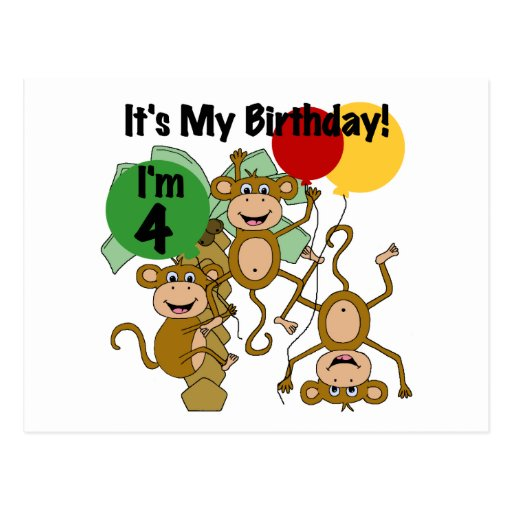 Monkey Shine 4th Birthday Tshirts and Gifts Post Card