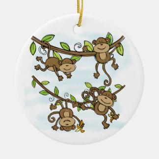 Monkey Shine Round Ceramic Decoration