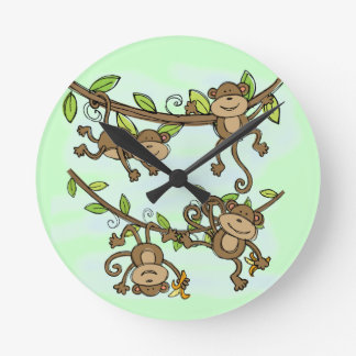 Monkey Shine Round Clock