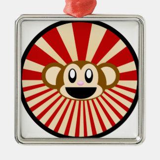 Monkey! Silver-Colored Square Decoration