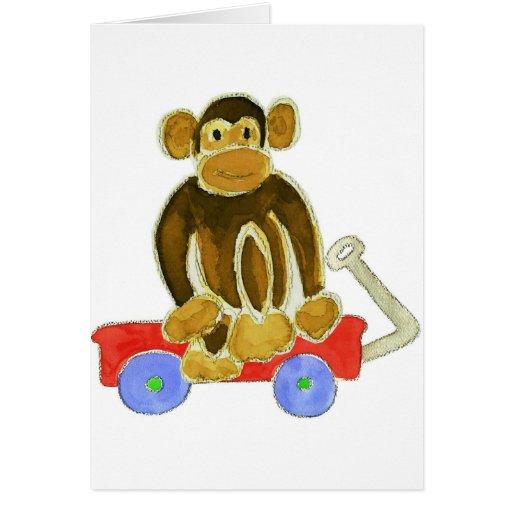 Monkey Sitting On Wagon Greeting Card