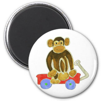 Monkey Sitting On Wagon Magnet