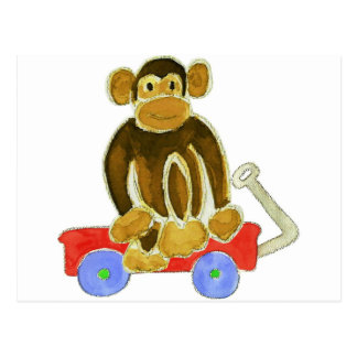 Monkey Sitting On Wagon Postcard
