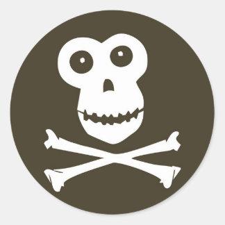 Monkey skull round stickers