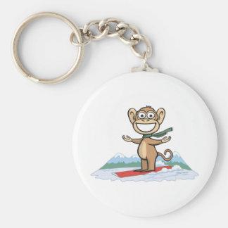 Monkey Snowboarder Basic Round Button Key Ring