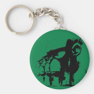 Monkey soldier basic round button key ring