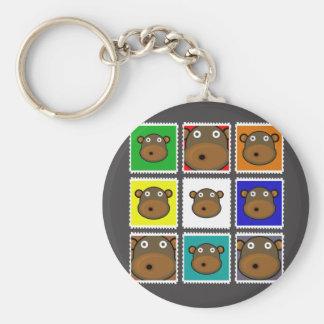 Monkey Stamp Grey Basic Round Button Key Ring