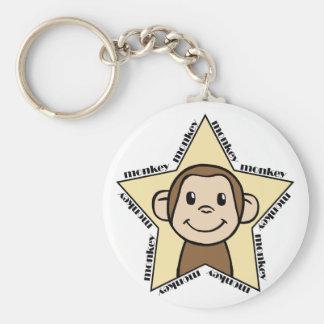 Monkey Star Basic Round Button Key Ring