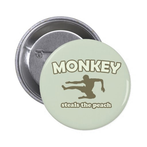 Monkey Steals the Peach Pinback Buttons