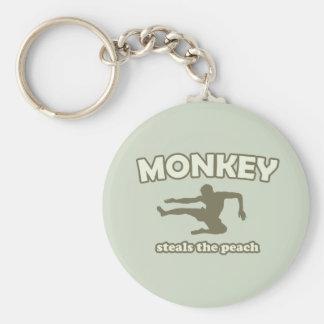 Monkey Steals the Peach Basic Round Button Key Ring
