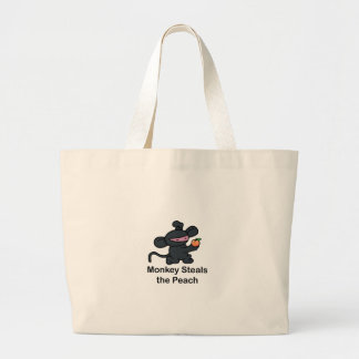 Monkey Steals the Peach Large Tote Bag
