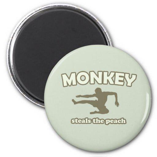 Monkey Steals the Peach Refrigerator Magnet