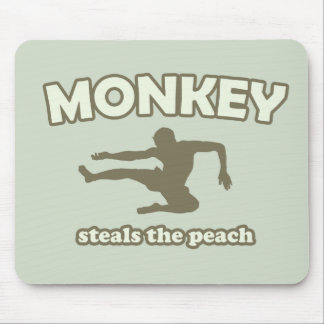 Monkey Steals the Peach Mouse Pads