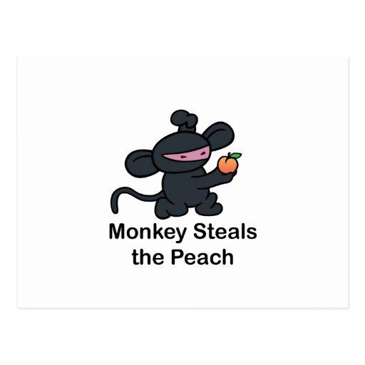 Monkey Steals the Peach Post Card