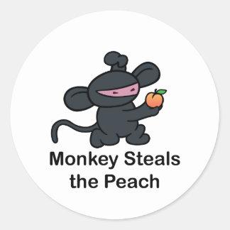 Monkey Steals the Peach Classic Round Sticker