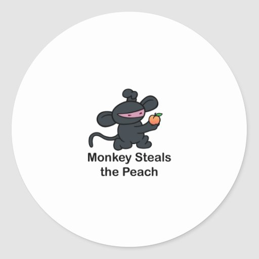 Monkey Steals the Peach Round Sticker
