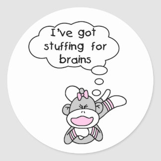 Monkey Stuffing for Brains Round Stickers
