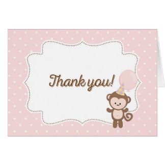 Monkey Thank You Card (Pink)
