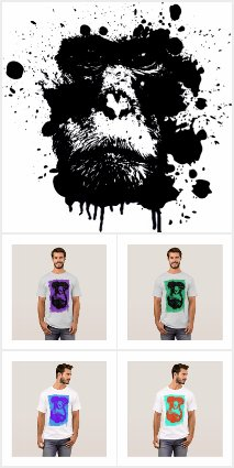 Monkey Themed Grunge T-shirts