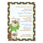 Monkey Time 5x7 TWINS Jungle Baby Shower Card